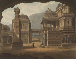 Great excavated temple at Ellora, drawn in 1813